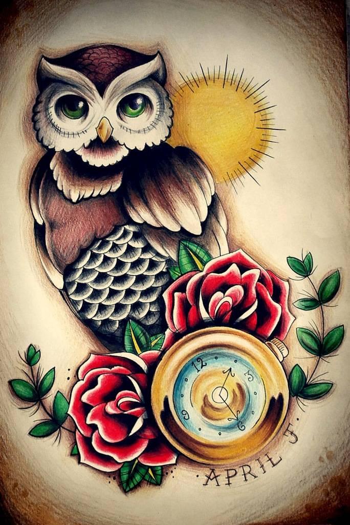 Что означает татуировка совы с розой